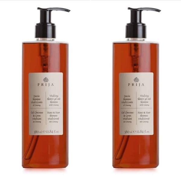Prija gaivinantis dušo gelis ir šampūnas su ženšeniu 380ml