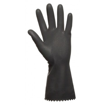 Latex glove, DPL Nova Super 65, 9, black, latex, inside velor