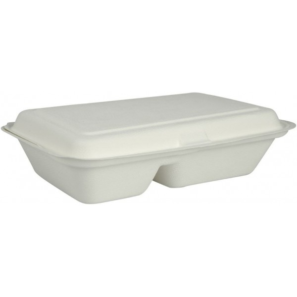 Dėžutė maistui, 2 skyriai, cukranendrė, 50 vnt