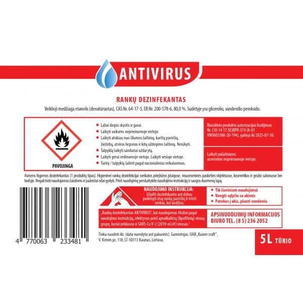 Rankų dezinfekcinis skystis Antivirus 5L
