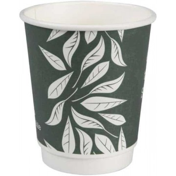 Hot Cup, double-wall, Green Leaves, 25vnt, 240ml