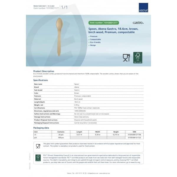 Mediniai šaukštai,  ekologiški, D20*100 vnt, 18,6 cm, ABENA