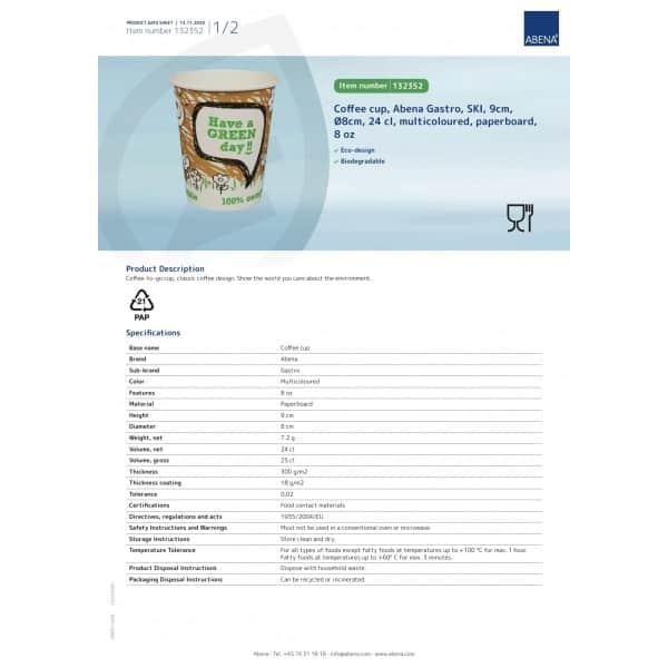 Ekologiški puodukai, 240ml/8oz, 50vnt, ABENA