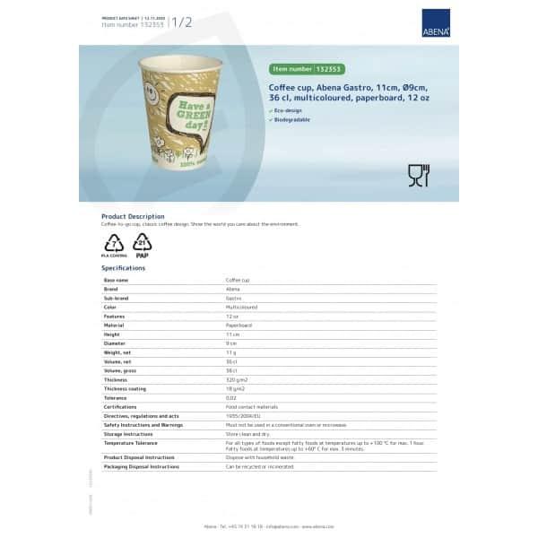 Ekologiški puodukai, 360ml/12oz, 50vnt, ABENA