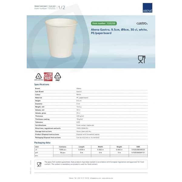 Balti puodeliai, 300 ml / 10 oz, 50 vnt, ABENA
